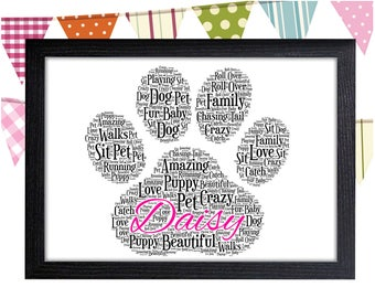 Cat Lover Gift Personalized Gift Paw Print Gift Dog Gift Animal Lover Gift Wall Prints Wall Art Wall Decor Personalised Gift Wall Art Prints