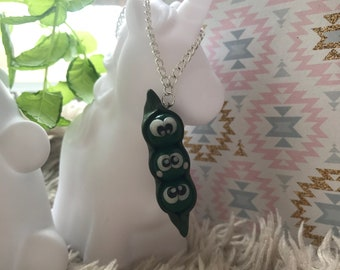 Necklace pod bean polymer clay ~ Fimo
