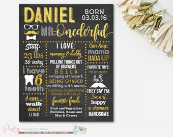 Mr Onederful Chalkboard Poster, First Birthday Chalkboard Poster, Mr Onederful Birthday Sign, Mr Onederful Poster, Milestone Birthday Sign