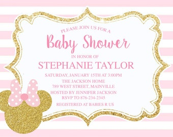Pink and Gold Minnie Mouse Invitation Glitter Minnie Invite