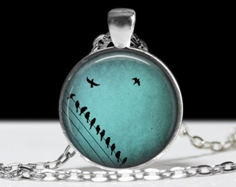 Bird Jewelry Blue Bird Pendant Wearable Birds on a Wire