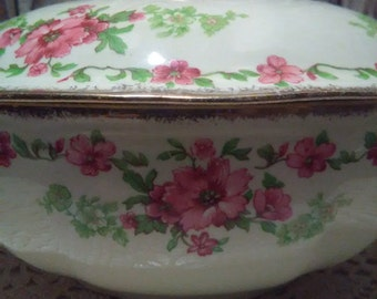 Alfred Meakin Royal Marigold Rosecliffe 18kt Gold Round Covered Vegetable Dish