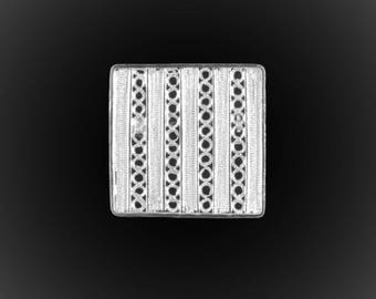 Embroidered with silver square pendant brooch