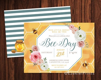 Happy Bee Day Birthday Party Invitation