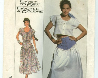 7954 Simplicity - Misses front buttoned Top in 2 lengths (cropped) & Yoked Skirt - UNCUT sewing pattern sz 6-8-10 - Vintage 1987