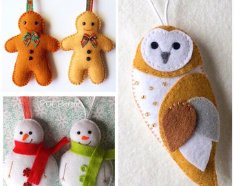 Set of 3 pdf Patterns, Gingerbread Man, Snowman and Barn Owl Feltie