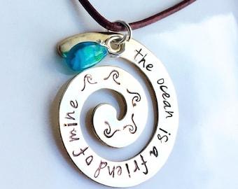Moana Inspired Necklace, No Telling How Far I'll Go, The Ocean Is A Friend Of Mine, Moana, Moana Birthday, Natashaaloha