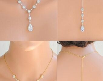 Back Drop Necklace, Rose Gold Bridal Backdrop Necklace, Wedding Back Necklace, Crystal Teardrop Halo Necklace, Bridal Wedding Jewelry, SARAH