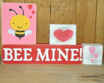 Bee Mine Valentine Block Set - 4 Block Set - Wooden Valentine Sign