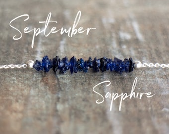 Raw Sapphire Necklace, September Birthstone Necklace, Blue Sapphire Bar Necklace, Rough Sapphire Jewellery, Raw Stone Jewelry, Gift for Her