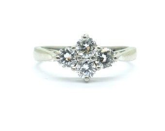 Vintage Platinum diamond cluster engagement ring Unique English Estate Four stone Anniversary-Dinner ring VS Clarity 0.50ct*FREE SHIPPING