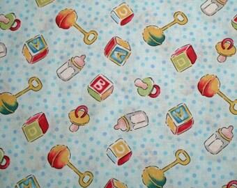 FAT QUARTER Blue Baby Boy Nursery Fabric Toys Blocks Rattles Pacifiers Henry Glass Dreamland Baby Shower