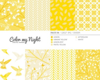 80% OFF SALE Digital Paper Yellow 'Pack04' Blossom Flowers, Hummingbirds, Leaves Backgrounds for Scrapbook, Invites, Crafts...