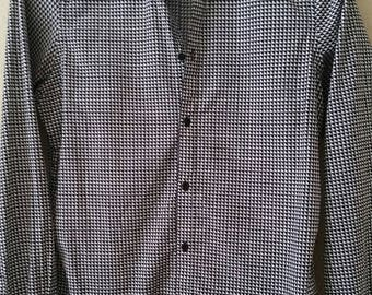 Men's Hipster Black and White Geometric Pattern Long Sleeve Shirt
