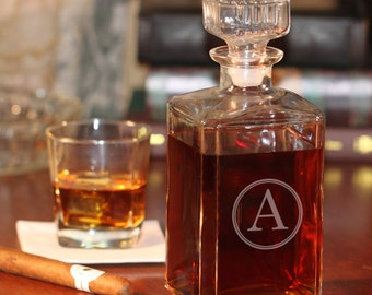 Engraved Glass Whiskey Decanter | Customized Liquor Decanter w/ Single Initial | Gifts for Men Groomsmen Home Bar | Free Personalization