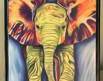 Rainbow Baby Elephant, A4 Print, Digital Art, Elephant, Gift, For Him, For Her