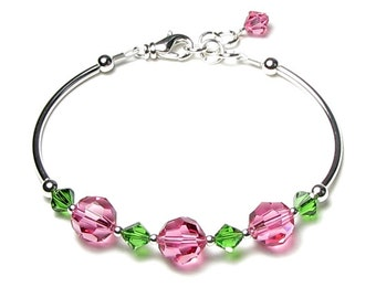 Pink Rose and Fern Green Swarovski Crystal Silver Adjustable Bracelet Special Anniversary Floral Color Jewelry Gift for Women Mother Sisters