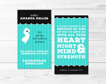 Missionary Address Card -- Sister Missionary Address, LDS Missionary, Contact Card, Striped, Feminine, Scalloped, Printable Business Card