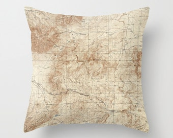Antique New Mexico Map Throw Pillow, Vintage Map Outdoor Pillow, Old New Mexico Map Decor,Topographical,Office Pillow,Office Decor,Geography