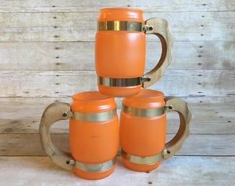 Vintage Mid Century 1960s Siesta Ware Frosted Orange Mug Set of Three