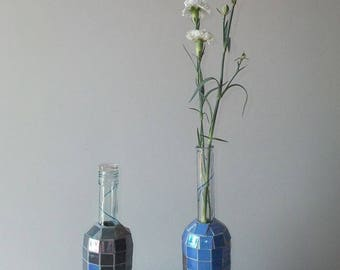 Pair of mosaic flower bottles