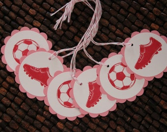 Soccer Birthday Party Favor Tags- Set of 12 -