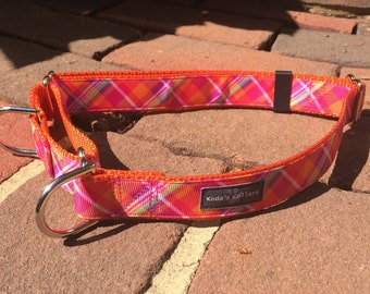 "1"" Peachy Plaid  Martingale Collar"