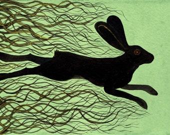 Watership Down Archival Art Print - The Black Rabbit of Inlé Illustration - Children's Book Art/Rabbit Art/Book Illustration/Bunny