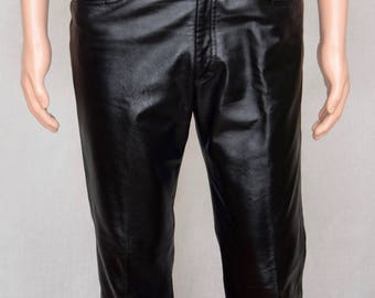 Sale - Vintage 1990's Manuel Couture Exclusive Clothier Men's Black Leather Pants 32 x 31 Size S