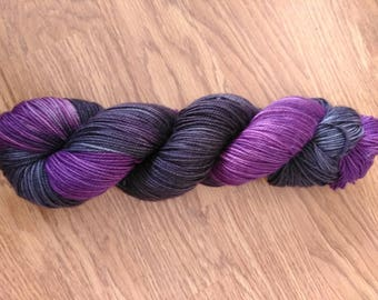 Purple and dark gray 80/20 superwash merino / nylon blend sport weight yarn 328 yds 100g