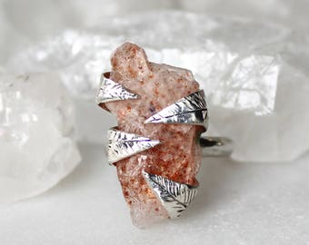 sunstone ring, raw sunstone ring, leaf ring, raw gamstone ring, recycled silver, alternative engagement