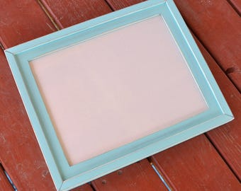 1) 16x20 Stacked rustic distressed pine frame .... sea green.... HANDMADE