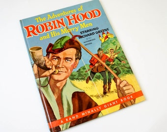 Vintage 1950s Childrens Book / The Adventures of Robin Hood and His Merry Men 1956 Hc / A Rand McNally Giant Book
