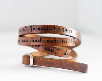 Car je sais les plans j'ai pour vous Jérémie 29: 11 - Ultra Long Bracelet en cuir Wrap Bracelet en cuir d'empilage, manchette en cuir, Triple Wrap