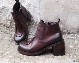 Leather boots ART in brown