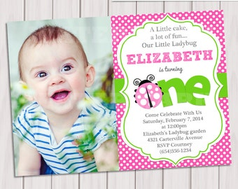 Pink Green Ladybug photo Invitation / Ladybug photo Invite / Ladybug photo Invitation / 1st Birthday Ladybug photo Invitation