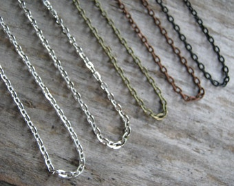 Rolo Chain, Silver, Antiqued Bronze, Antiqued Silver, Antiqued Copper, Black Rolo Chain, Choose Your Length 24 inches