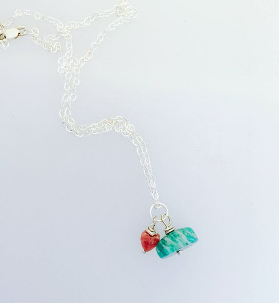 Amazonite and Rhodochrosite Heart Bead Necklace-Gemstone Necklace-Vegan Necklace-Vegan Jewelry-Vegan Gift-Boho Necklace-Dainty-Healing Gems