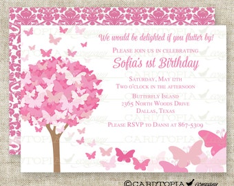 Pink Butterfly Birthday Party Invitation Personalized Custom Digital Printable File with Professional Printing Option