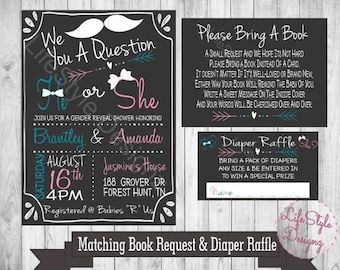 We Mustache You - Gender Reveal Shower Invitation - Baby Shower - He or She - Diaper Party - Mustache Theme Shower - Pink - Blue -Printable