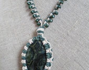 Macrame necklace, Kambaba Jasper necklace, Gemstone necklace, Hippie jewelry, Boho jewelry