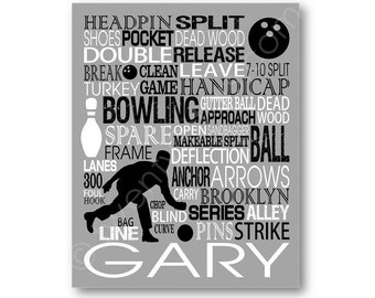 Bowling Typography Poster, Bowling Lover Gift, Bowling Team Gift, Bowling Coach Gift, Bowler Art, Bowler Canvas, Bowler Gift, Bowling Gift