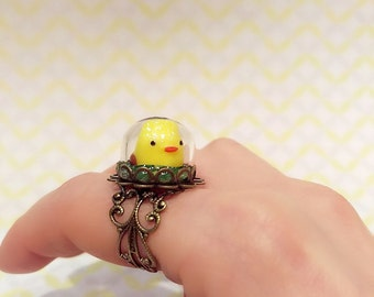 Adorable Chick Ring, Baby Chicken Ring, Adjustable Antique Bronze Chick Ring
