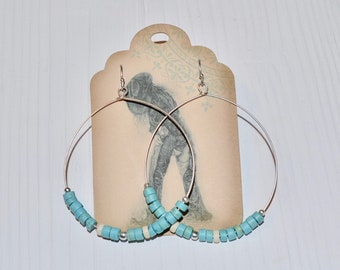Silver Hoop Earrings, Wire hoop earrings, Turquoise earrings, Gemstone earrings, Silver bead earrings, Dangle earrings, Boho earrings