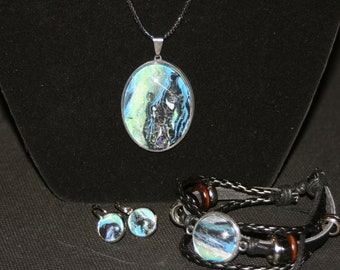 3 piece set, Necklace, bracelet, earrings. Handcrafted One of a kind