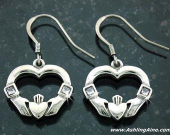 Open Heart Claddagh Earrings, Celtic Claddaugh Earrings, Celtic Jewelry, Irish Jewelry, Irish Earrings, Claddagh Earrings with CZ
