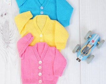 KNITTING PATTERN for V Neck Cardigans Knitting Pattern in 3 Sizes PDF 251 Digital Download