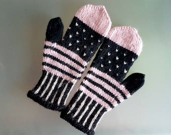 Wool black and pink fair isle knitted mittens, mitts, gloves with black thumb - handmade to perfection - perfect for autumn/winter - scandi