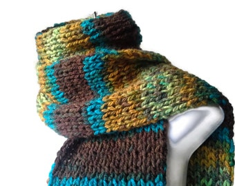 Knit Scarf Green Brown Blue Yellow Ombre Stripe Scarf Vegan Knit Men Women FELIX Ready to Ship Winter Outdoors Gift Son Gift Husband Gift