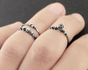 Silver knuckle rings, sterling silver midi rings, oxidized stacking rings, OOAK midi rings, silver mdi rings, midi rings, midi rings set